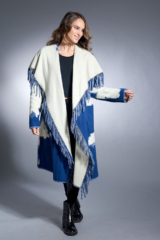 Blue and White Wool 7/8 Coat with Flower Pattern and Fringe