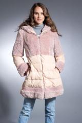 Pink Shearling Lamb and Down Parka