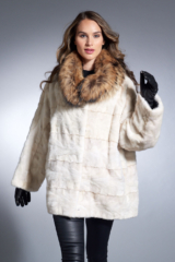 Pearl Mink Sections Jacket with Finnish Raccoon Trim
