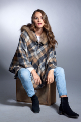 Plaid Wool Cape with Finnish Raccoon Trimmed Hood