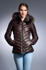 Brown Leather Down Jacket with Detachable Raccoon Trimmed Hood