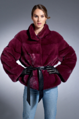 Magenta Purple Mink Jacket with Leather Belt