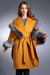 Hooded Yellow Wrap Coat with Silver Fox Trim