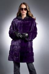 Purple Horizontal Mink Reversible Parka