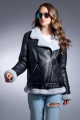 Black Merino Shearling Flight Jacket