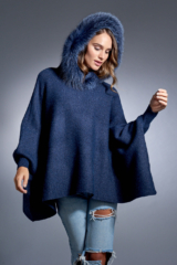 Denim Knitted Poncho with Fox Trimmed