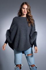 Charcoal Knitted Wrap with Fox Trim