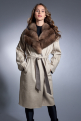 Sand Loro Piana Blend Coat with Sable Trim and Belt