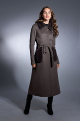 Brown Loro Piana Cashmere Blend Coat with Mink Collar and Pockets