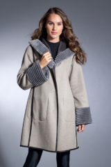 Grey and Beige Reversible Wool Parka with Shearling Trim