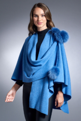 Denim Blue Knitted Wrap with Pull Through Loop and Fox Poms
