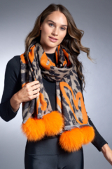 Orange Woven Animal Print Scarf with Orange Hearts and Fox Poms