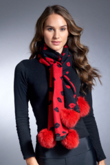 Black and Red Woven Scarf with Lips Pattern and Fox Poms