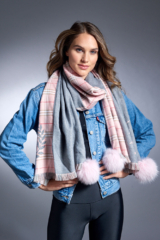 Baby Pink Woven Scarf with Leaf and Knight Pattern and Fox Poms