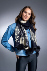 Black Woven Scarf with Butterfly Pattern and Black Fox Poms